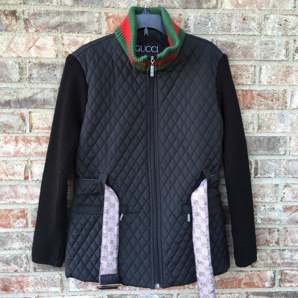 51513531 Gucci Jackets & Coats | Nylon Quilted Jacket With Web Collar | Poshmark